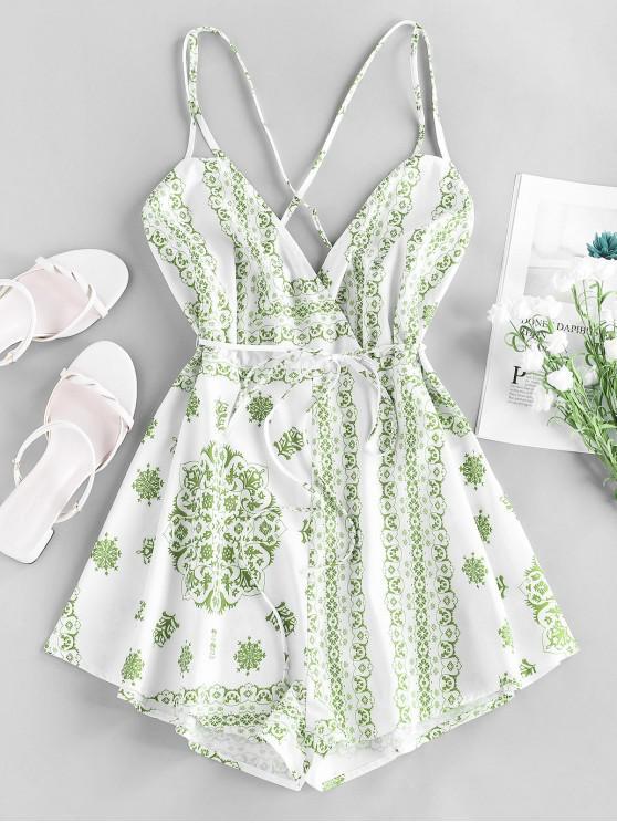 outfit ZAFUL Bandana Print Crisscross Cami Romper - GREEN PEAS M