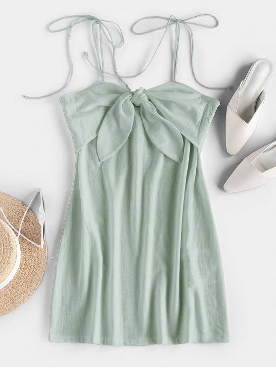 buy ZAFUL Tie Shoulder Knotted Cami Mini Dress - MINT GREEN XL