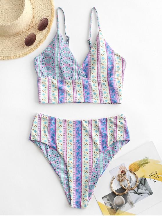 ladies ZAFUL Bohemian Printed Surplice-front Tankini Swimwear - LIGHT PURPLE XL