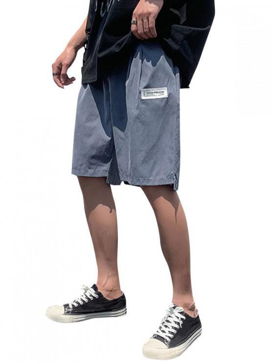 Short SimpleOurletAsymétrique à Taille Elastique - Marbre Bleu XL