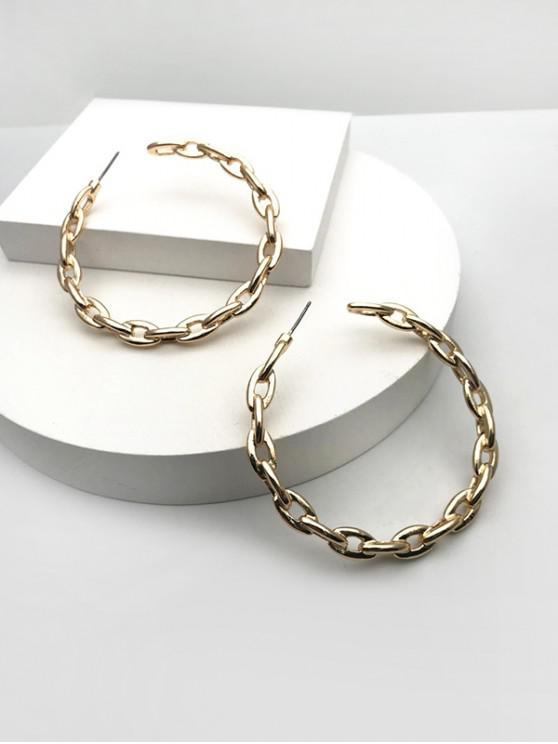 fancy Chain Open Hoop Earrings - GOLDEN