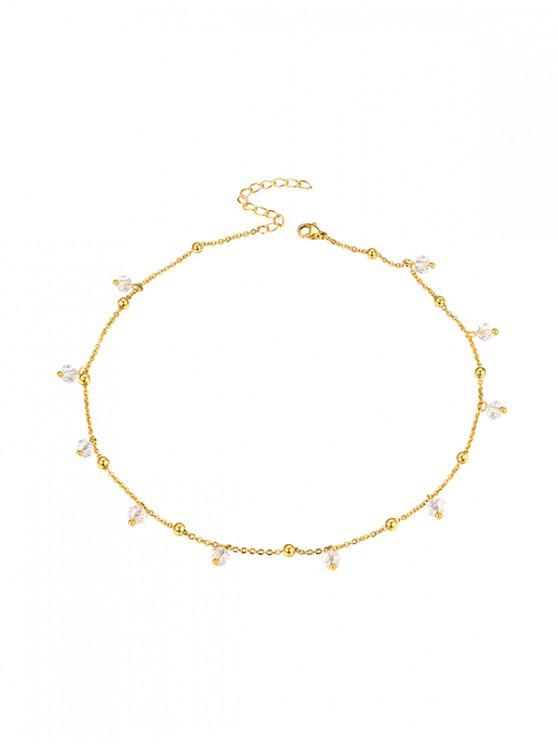 trendy Faux Crystal Beaded Necklace - GOLDEN