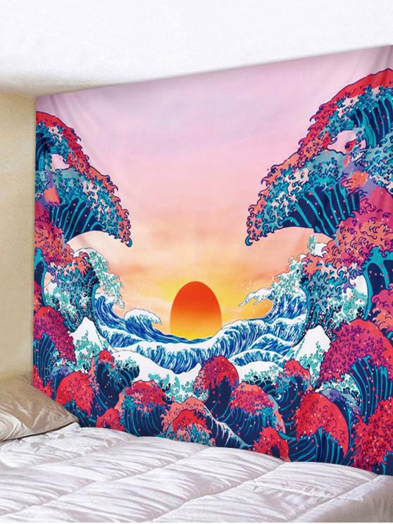 chic Japanese Style Sea Wave Sunset Print Tapestry - ROSE RED W91 X L71 INCH