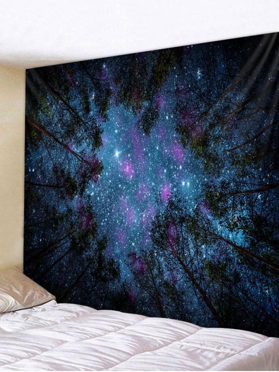 Forest Under Stars Print Polyester Tapestry - اللازورد الأزرق W79 × L59 بوصة