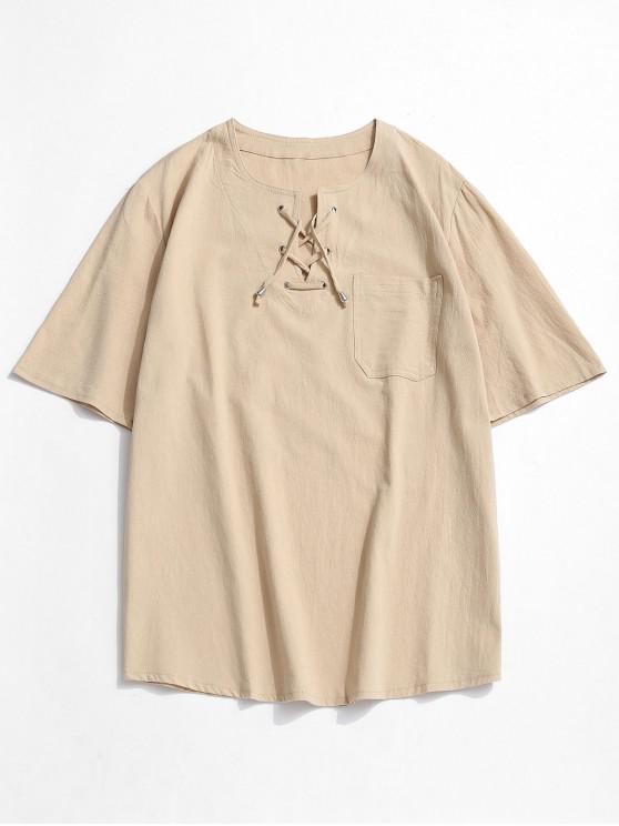 Notched Lace-up Pocket Plain T-shirt - أصفر فاتح 3XL