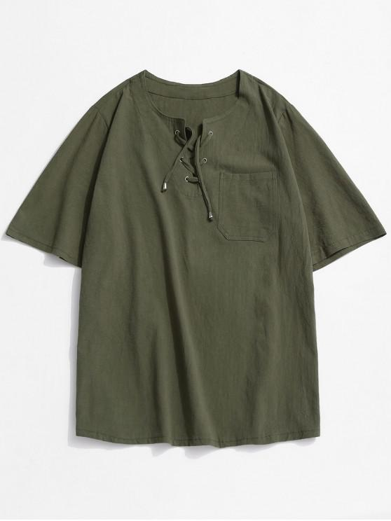 women's Notched Lace-up Pocket Plain T-shirt - DEEP GREEN 3XL