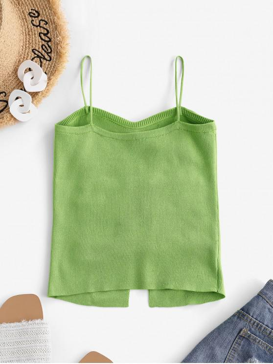 Ruched Slim Slit Knit Cami Top - Light Green | ZAFUL