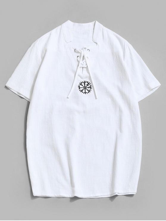 T-Shirt Brodé Fente Latérale à Lacets - Blanc 3XL