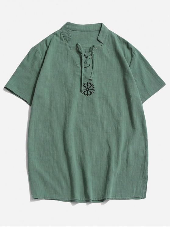 women's Fork Embroidered Side Slit Lace-up T-shirt - LIGHT GREEN 3XL