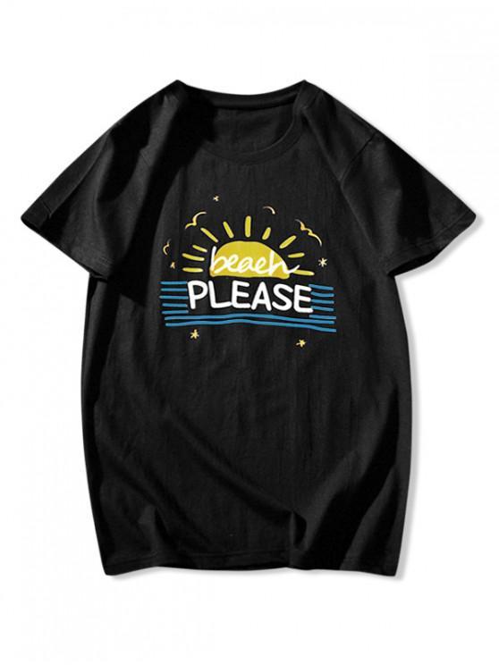 Camiseta de Praia Listrada com Gráfico - Preto S