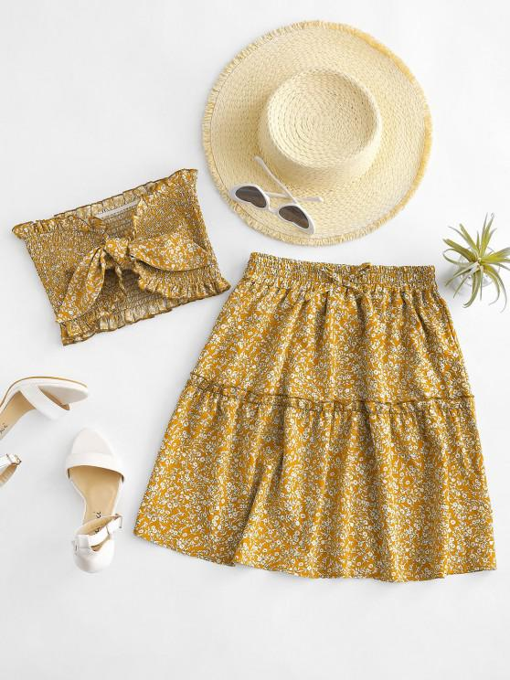 hot Ditsy Floral Tie Front Smocked Bandeau Top Set - YELLOW L