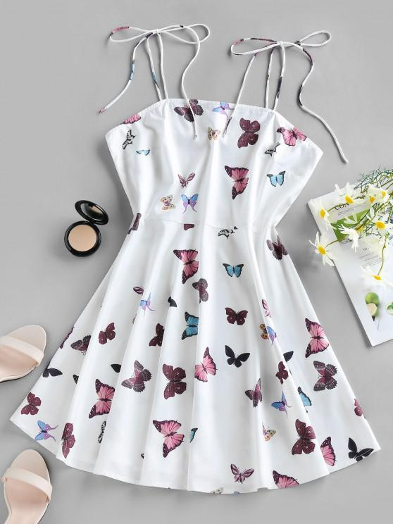 buy ZAFUL Butterfly Print Tie Shoulder Backless Mini Dress - WHITE L