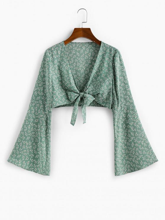 trendy ZAFUL Ditsy Print Flare Sleeve Plunging Crop Blouse - CYAN OPAQUE S