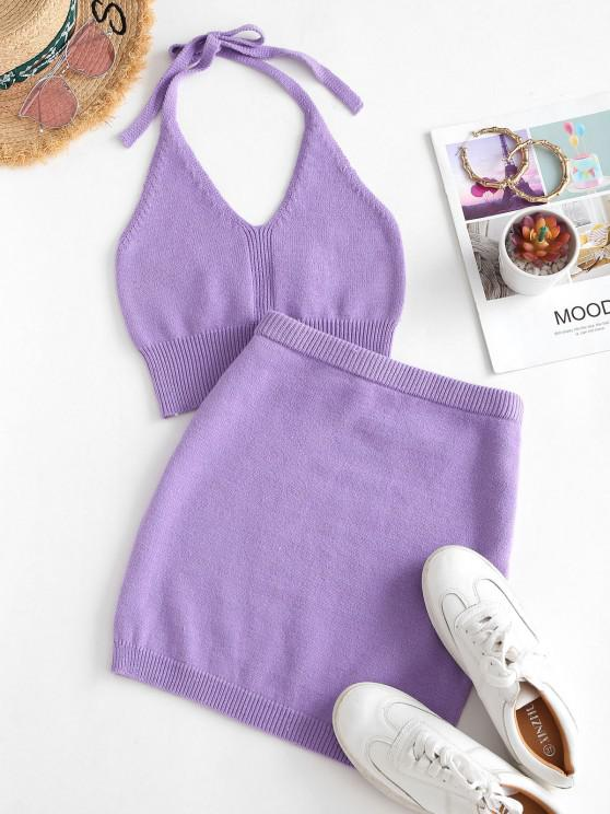 buy Halter Cropped Knitted Two Piece Dress - PURPLE ONE SIZE