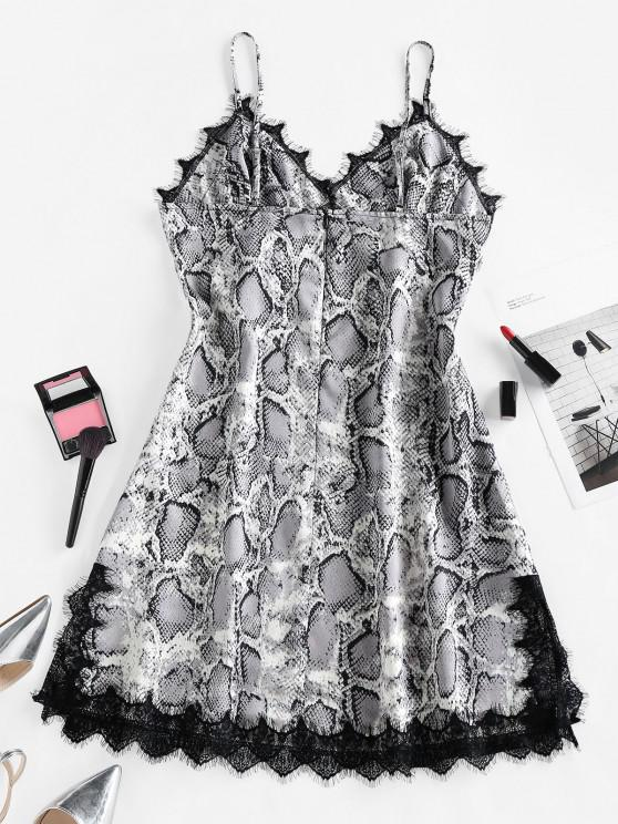 ZAFUL Snakeskin Print Lace Slip Dress - Black M