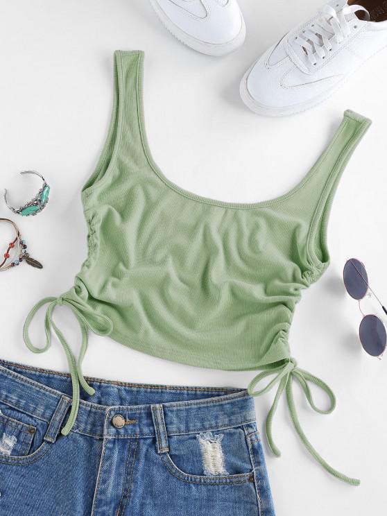 ZAFUL Enrugado Textura com Nervuras Top Curto Cortado - Luz verde S