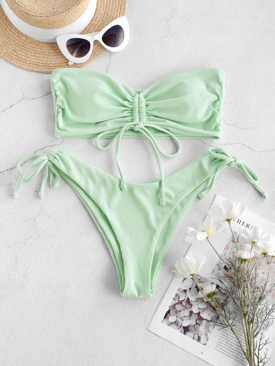 chic ZAFUL Cinched Ribbed High Leg Bandeau Bikini Swimwear - MINT GREEN M