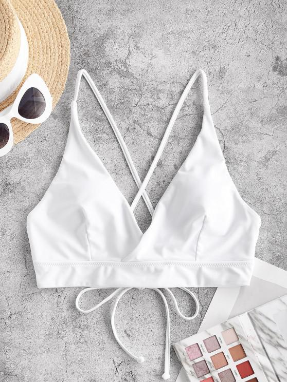 outfits ZAFUL Lace Up Back Criss Cross Bikini Top - WHITE M
