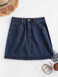 A Line Denim Skirt - Deep Blue Xs