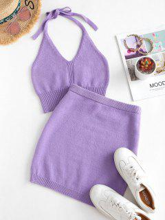 Halter Cropped Knitted Two Piece Dress - Purple