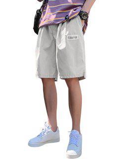Asymmetric Hem Elastic Waist Plain Shorts - Warm White Xl