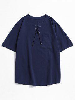 Notched Lace-up Pocket Plain T-shirt - Deep Blue 3xl