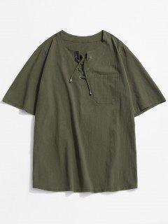 T-shirt Simple Cranté à Lacets Avec Poche - Vert Profond 3xl