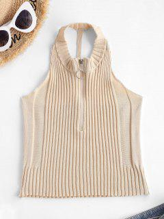 Pull Ring Zip Cutout Crop Knit Tank Top - Light Coffee