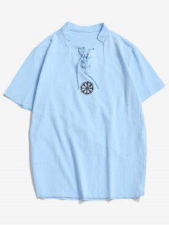 Fork Embroidered Side Slit Lace-up T-shirt - Light Blue Xl