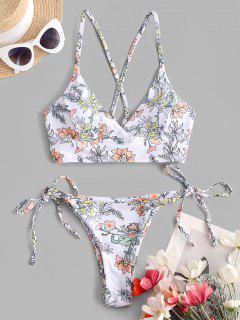 ZAFUL Plants Print Crisscross Tie Side Tanga Bikini Swimwear - White S