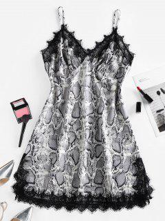 ZAFUL Snakeskin Print Lace Slip Dress - Black Xl