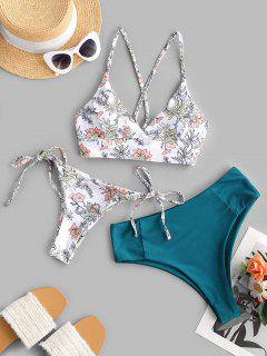 ZAFUL Plants Print Lace-up Three Piece Bikini Swimwear - Greenish Blue L