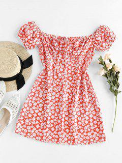 ZAFUL Ditsy Floral Off Shoulder Tie Dress - Red Xl