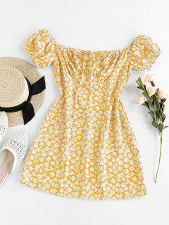 ZAFUL Ditsy Floral Off Shoulder Tie Dress - Mustard M