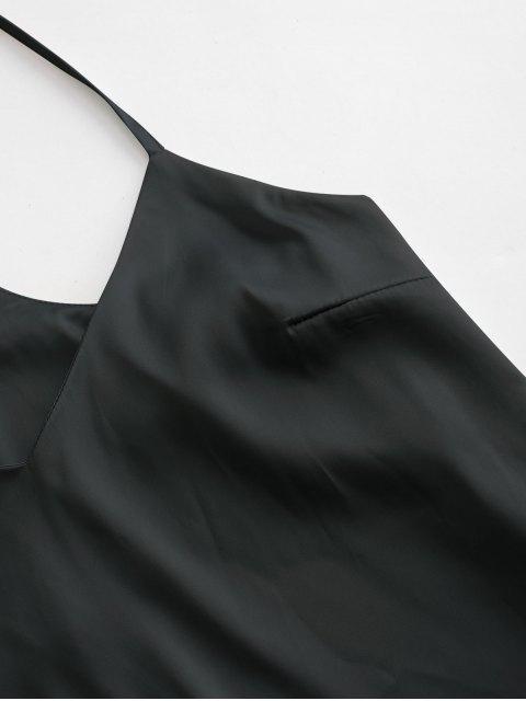 Schlichtes Satin Zweiteiliger Pyjama Anzug - Schwarz XL Mobile