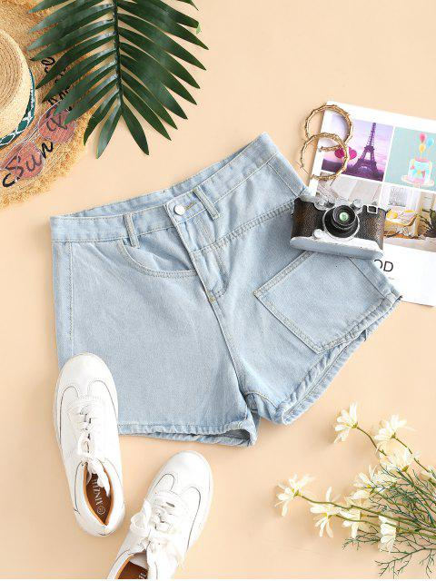 women Pocket High Waisted Loose Denim Shorts - LIGHT BLUE M Mobile