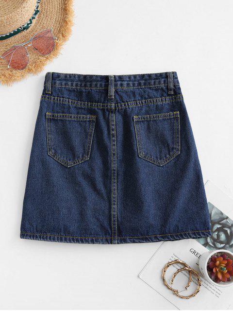 women's A Line Denim Skirt - DEEP BLUE XS Mobile