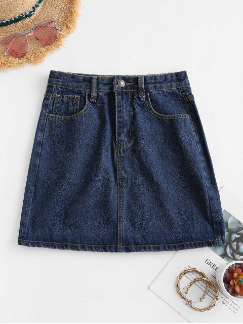 affordable A Line Denim Skirt - DEEP BLUE S Mobile