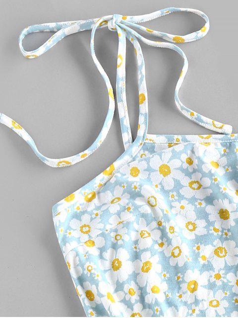 women ZAFUL Flower Print Tie Shoulder Bodycon Dress - LIGHT BLUE S Mobile