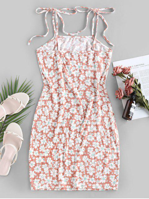 outfits ZAFUL Flower Print Tie Shoulder Bodycon Dress - LIGHT PINK S Mobile