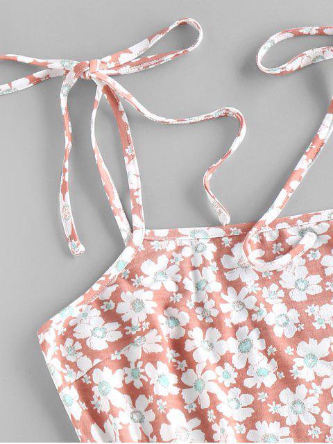 chic ZAFUL Flower Print Tie Shoulder Bodycon Dress - LIGHT PINK M Mobile