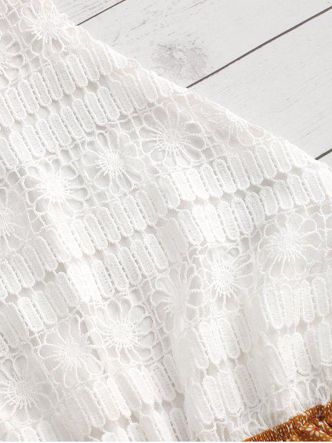 best Ditsy Print Crochet Lace Panel Halter Romper - YELLOW L Mobile