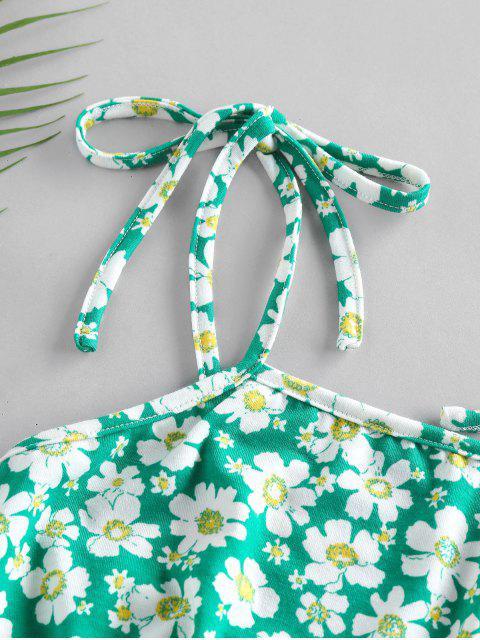 ZAFUL Top Cami Impressão Floral Cortado - Luz verde S Mobile