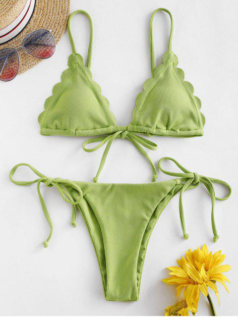 affordable ZAFUL Ribbed Scalloped String Bikini Swimsuit - PISTACHIO GREEN S Mobile