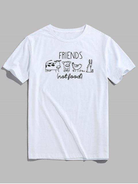 ZAFUL Cartoon Animals Print Funny T-shirt - أبيض XL Mobile