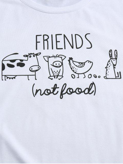 new ZAFUL Cartoon Animals Print Funny T-shirt - WHITE 2XL Mobile