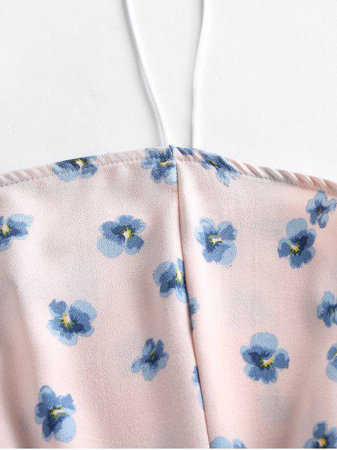 ZAFUL Robe Fleurie Imprimée à Volants à Bretelle - Rose Cochon M Mobile