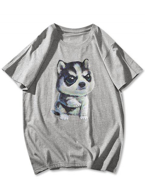 Cute Dog Pattern Basic T-shirt - اللون الرمادي XS Mobile
