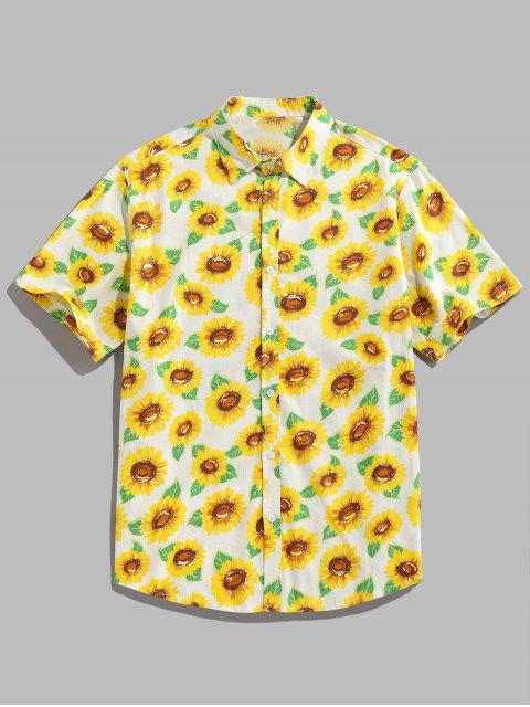 lady ZAFUL Sunflower Print Button Up Shirt - YELLOW 2XL Mobile