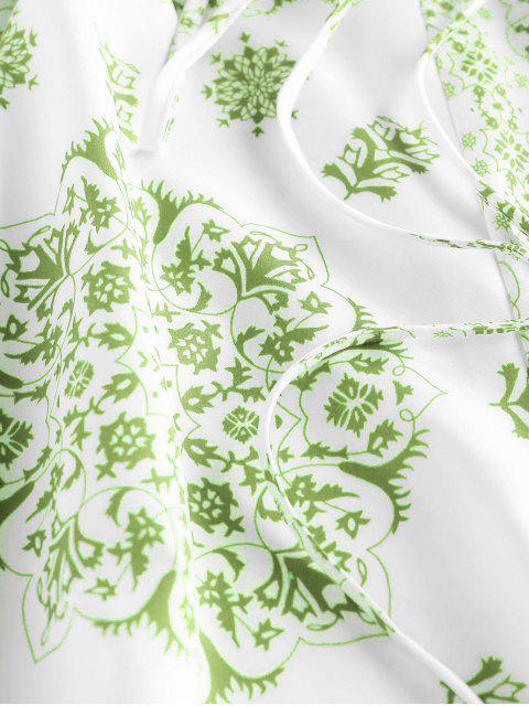 new ZAFUL Bandana Print Crisscross Cami Romper - GREEN PEAS L Mobile